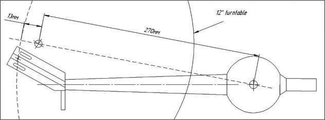 "Viscous damped unipivot Karmadon Tonearm 12"" dimensions"